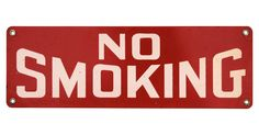 Vintage one-sided metal No Smoking sign. Sign has holes for hanging.