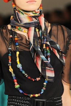 Knotted Printed Scarf around the neck, in a classic casual style.  Scarf Trend forSpring Summer 2013.  Ralph Lauren Spring Summer 2013.  #fashion  #trends