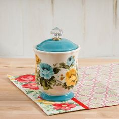 Buy The Pioneer Woman Pioneer Rose Shadow 8.25-Inch Canister w/Acrylic Knob at Walmart.com