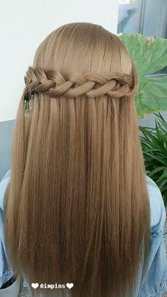 --Video Pin-- Long Hair Hairstyles For Girl Wavy Hairstyles Tutorial, Pretty Hairstyles, Girl Hairstyles, Braided Hairstyles, Hairstyles Videos, Style Hairstyle, Hairstyle Tutorials, Braided Ponytail, Medium Long Hair