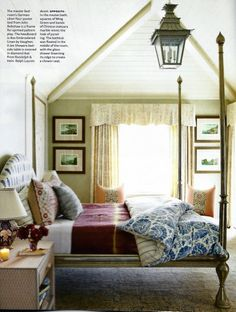 That bed, the layers of textiles, heaven. From House Beautiful.