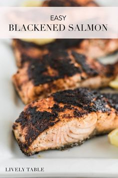 This simple pan-seared blackened salmon with an easy homemade blackening seasoning is a healthy, delicious dinner that you'll want to add to your regular rotation. Made in less than 20 minutes, it's a great weeknight dinner recipe! #glutenfree #nutfree #dairyfree #fish #seafood #salmon #recipes #dinner #weeknightmeals #healthy #lowcarb #cajun