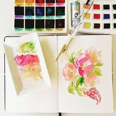 Here's the top view of that florals I did earlier  #calligrafikas #peerlesswatercolors #vangoghwatercolors