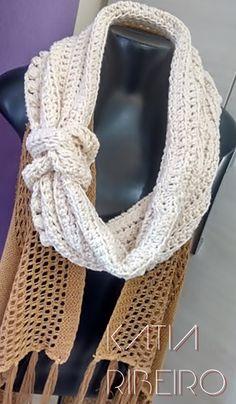 Katia Ribeiro Moda e Decoração Handmade : Gola em Crochê com Barroco Natural da Círculo