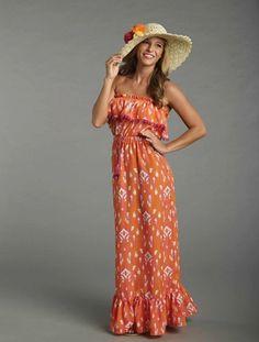 Maxi Dress Ikat X Large Orange White Pink Fringe MuuMuu Relaxed Beach Bar Wear #MudPIe #Maxi #Casual