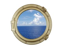 Gold Finish Decorative Ship Porthole Window 20""