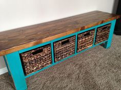 "This bench with cubbies is awesome! You can store baskets in the cubbies to keep all your kids toys/shoes together. They are custom made. So we can  build it to any size needed. You can also choose the color and stain on top. The standard size we build is 4.6ft long x 16"" tall x 14"" deep. &#"