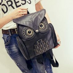 Designer Cute Owl PU Leather Ladies Backpack 5 Colors