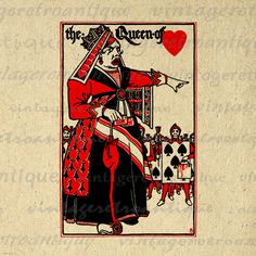 Alice in Wonderland Queen of Hearts Digital Graphic Printable Download Image Vintage Clip Art. Digital graphic image for printing, fabric transfers, pillows, tote bags, papercrafts, t-shirts, and much more. Personal or commercial use. This digital graphic is large and high quality, size 8½ x 11 inches. Transparent background version included with every graphic.