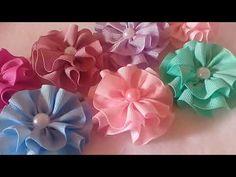 FLOR DE FITA DE GORGURÃO N°05 (25MM) - YouTube Easy Fabric Flowers, Diy Lace Ribbon Flowers, Cloth Flowers, Fabric Roses, Ribbon Art, Satin Flowers, Paper Flowers, Ribbon Bow Tutorial, Hair Bow Tutorial