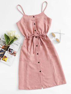 #ROMWE - #ROMWE Single Breasted Drawstring Waist Pocket Side Dress - AdoreWe.com
