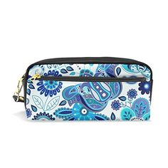 COOSUN Paisley Floral Seamless Pattern Portable PU Leather Pencil Case  School Pen Bags Stationary Pouch Case 7b3659627fe9