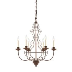 Six Light Wire Urn Chandelier.  Simple rust finish.  Clean unique look.  Rustic or perfect for urban dining.