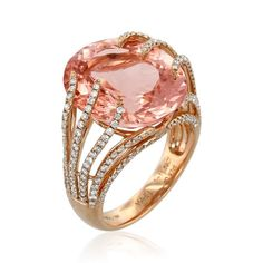 Stream rose gold cocktail ring featuring carat morganite accented with carats of ideal cut diamonds. Red Jewelry, Modern Jewelry, Fine Jewelry, Jewelry Box, Jewellery, Wedding Rings Rose Gold, Gold Rings, Women's Rings, Gold Wedding
