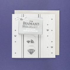 Grußkarte Diamanthochzeit AvanNoblesse Diamanten Steine Glückwünsche 16x16cm