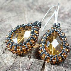 Sunny Yellow Beaded Glass Teardrop Earrings