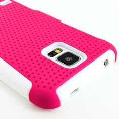 myLife (TM) Vibrant Rose Pink and Shocking White - Perforated Mesh Series (2 Layer Neo Hybrid) Slim Armor Case for the NEW Galaxy S5 (5G) Sm...
