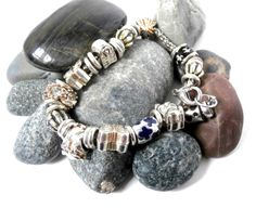 Large Hole Charms  Repurposed Silvertone Bracelet by ReTainReUse, $22.00