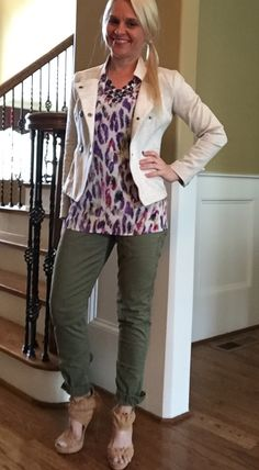 Cabi Spring 2016 Traveler Pant and Plume Top - 2 biggest sellers this season! With Charlie Jacket from Fall 2015. Get these while you can! They're selling out fast! Shop this look at bethtaylor.cabionline.com