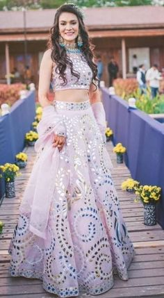 Lilac Mirror Work Lehenga with Crop Top - Designer Dresses Couture Indian Wedding Gowns, Indian Bridal Outfits, Indian Gowns Dresses, Indian Designer Outfits, Designer Dresses, Wedding Outfits, Indian Lehenga, Red Lehenga, Anarkali