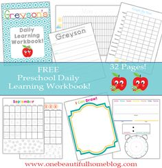 FREE Preschool Daily Learning Workbook. From OneBeautifulHomeblog.com