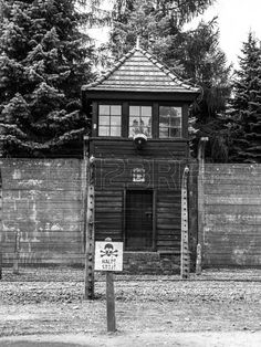 Guard Tower In Concentration Camp Oswiecim (Auschwitz) Stock Photo ...