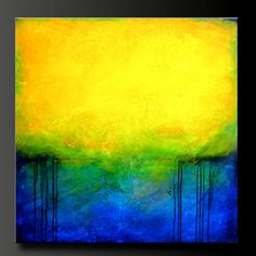 "Abstract contemporary painting, modern, yellow, cobalt blue, black. Highly textured. ""Paradise"". Artist Charlen Williamson"