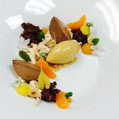 Chocolate hazelnut (gianduja) semifreddo, hazelnut mousse, feuilletine, hazelnut gelato, Orange cremeux, Clementine...