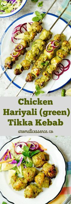 Hariyali Murgh Tikka kebab- A scrumptious, Indian appetizer! Boneless chicken chunks marinated in a super flavorful and aromatic green spice paste and grilled to perfection! Hariyali Murgh kebab is featured in the menu's of most restaurants all over India Kebab Recipes, Veg Recipes, Indian Food Recipes, Cooking Recipes, Ethnic Recipes, Appetizer Recipes, Tandoori Recipes, Recipies, Grilled Recipes