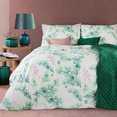 Komplet pościeli AGATA z nadrukiem z turkusowymi gałązkami z mikrowłókna (360375) - sklep internetowy Eurofirany Comforters, Blanket, Bed, Home, Creature Comforts, Quilts, Stream Bed, Ad Home, Blankets