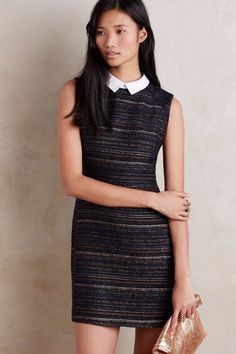 NWT ANTHROPOLOGIE by GREENWICH & MEWS COLLARED STRIPED JACQUARD SHIFT DRESS 12P #Anthropologie #Shift #Festive