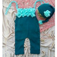 Upcycled baby girl romper and hat set newborn by BeautyOfCrochet