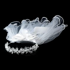 Flower girl's veils are elegant additions to incorporate into a child's hair on a special occasion. These Pearl & Rhinestone Headband Veil accessories are perfect to wear to a pageant, first communion ceremony, or by a flower girl walking down the isle. Headband Veil, Rhinestone Headband, Pearl Headband, First Communion Veils, First Holy Communion, Communion Dresses, Bridal Tiara, Headpiece Wedding, Bridal Headbands