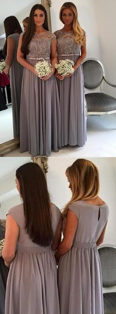 grey long bridesmaid dress, chiffon bridesmaid dress, lace bridesmaid dress…