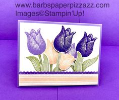 """I made this card to present to my classes how to do this pop-up technique inside the card.  This card features a wooden tub of tulips that pop open when the card is opened.  The stamp set I used is the """"Timeless Tulips"""" stamp set.  I hope to be posting the directions on my blog soon...www.barbspaperpizzazz.com Magnolia Stamps, Sympathy Cards, Greeting Cards, Stamping Up Cards, Card Patterns, Pop Up Cards, Pretty Cards, Card Sketches, Happy Birthday Cards"""