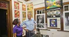 U.S. President Barack Obama visits the Bob Marley Museum with tour guide Natasha Clark, Wednesday, April 8, 2015 in Kingston, Jamaica. (AP Photo/Pablo Martinez Monsivais)