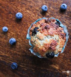 """""""Passionfruit, blueberry and yoghurt muffins """""""