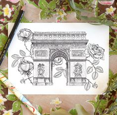 Arc de Triomphe! Drawn with a Nikko G nib and India ink.