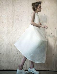 Conceptual Fashion Design - dress combining simplicity with 3D shapes - sculptural fashion; wearable art // White Show, CSM