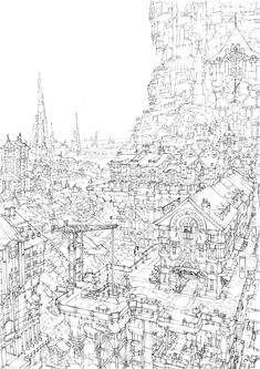 Landscape Drawings, Architecture Drawings, Art Drawings, Wave Stencil, Environment Sketch, Background Drawing, Perspective Art, Fantasy Castle, Cartoon Sketches