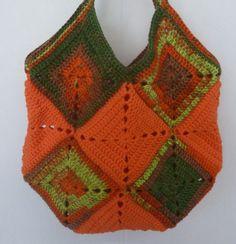 sac à main granny au crochet coloris orange, vert anis et marron