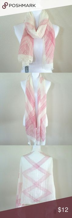 """Scarf Brand new light wight pink white scarf with fringed edges. 35% cotton, 65% viscose.  Size: 68""""(L)x26""""(W)  *REASONABLE offers are WELCOME!!  *Check out my other listings to bundle and save 10%!! Arianna by HOWARD'S Other"""