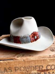 436954d354 Feather hat band - 1980s vintage style replica of J R Ewing s Southfork  Ranch Texas hat band