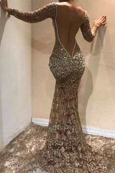 Glamorous Mermaid Long Sleeves Open Back Sequins Long Prom Dress Prom Girl Dresses, Sequin Prom Dresses, Prom Dresses Long With Sleeves, Prom Outfits, Prom Dresses Online, Mermaid Prom Dresses, Sexy Dresses, Evening Dresses, Prom Dresses Long Open Back