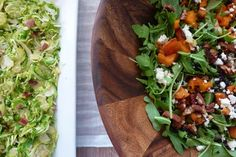 adventurous veggies!  A shredded brussels sprout recipe and a salad recipe with roasted squash