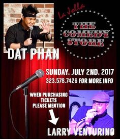 This Sunday at The Comedy Store in La Jolla, CA! #standupcomedy #DatPhanAndFriends #LastComicStanding #comedians #comedyfans #comedy #LaJolla #SanDiego #floridacomedy @comedystorelj @dat_phan #lajollalocals #sandiegoconnection #sdlocals - posted by Larry Venturino  https://www.instagram.com/larryventurino. See more post on La Jolla at http://LaJollaLocals.com