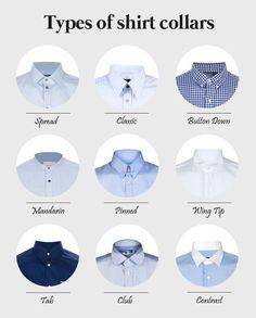 Men's fashion: Different collars of mens shirts Fashion Mode, Look Fashion, Fashion Tips, Classic Fashion, Fashion Basics, Nail Fashion, Fashion Menswear, Fashion Outfits, Runway Fashion