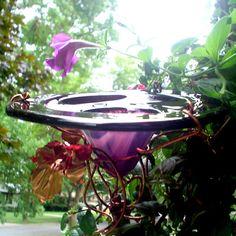 DAD Garden Gift, FATHERS DAY Gift, Garden Art, Butterfly Feeder, stained glass, copper art, Bird Feeder, purple