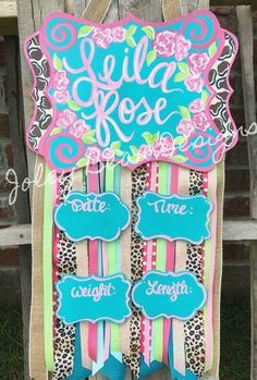 Leila's hospital door hanger from Joley Bean Designs was perfect!!  Baby girl hospital door hanger, leopard print, Joley bean designs