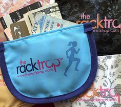 the racktrap personal bra pocket holds all your essentials when you're on the go!